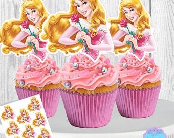 Princess Aurora Cupcake Toppers, Sleeping Beauty Cupcake Toppers, Princess Aurora Cupcake Picks, PRINTABLE, You Print