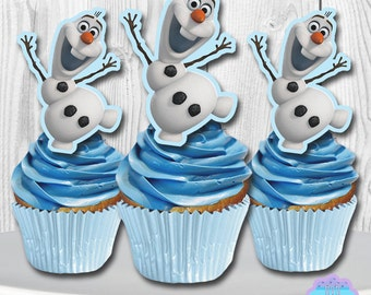 Disney Frozen OLAF Cupcake Toppers, Cupcake Picks PRINTABLE, You Print