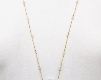 Aquamarine 14 k goldfill gold necklace, necklace with Rainbow maansteen, necklace with aquamarine pendant, goldfill necklace