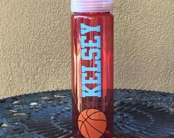 Personalized Basketball Water Bottle- BPA free, stocking stuffer, basketball gift, team gift, vinyl water bottle, sports water bottle