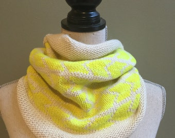 Pop of Neon Yellow Hand-knit Arrow Cowl