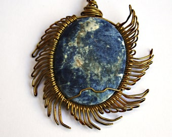 blue sun sodalite and brass necklace