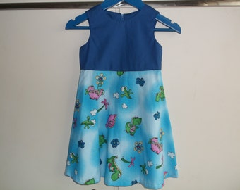 Blue dinosaurs dress