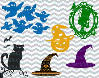 Halloween Files, Witch Hat, Black Cat, Ghosts, Skull, Pumpkin with Witch Hat, Aztec Witch Hat .SVG/.DXF/.EPS and .Png Files