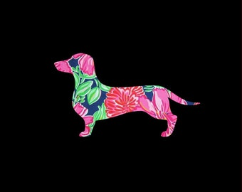Dachshund Doxie Vinyl Preppy Print Car Decal in Your Choice of Sizes and Patterns!