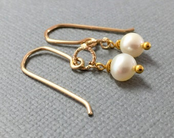 Drop Freshwater Pearl Earrings, Gold White Pearl Earrings, Wedding Jewelry, Gold Pearl Drop Earrings, Pearl Brushed Gold Dangle Earrings