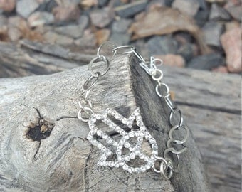Sparkly Silver Hamsa with Peace Sign on Thick Silver Chain Bracelet
