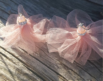 Pink Pearl And Tulle Tutu Earrings