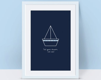 Nautical nursery art, boy nursery decor, blue white nursery, sailing nursery, sailboat nursery decor, gift for kids