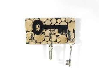 Wooden hand made wall Keyring