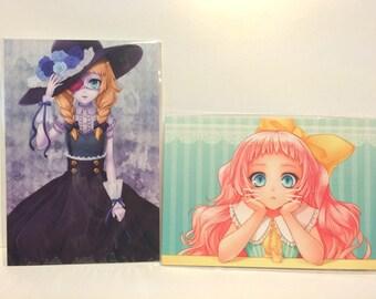 Postcard, Anime, manga, art, illustration, kawaii, print, postcard, japan, pastel, lolita,