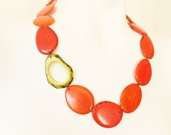 Tagua Necklace, Tangerine Necklace, Bold Jewelry, Boho necklace, Unique necklace, Mothers necklace, Gift ideas, Vegetable ivory, Vegan