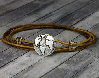 Globe Leather Bracelet - Wanderlust Bracelet - Leather Wrap Bracelet - Wanderlust Jewelry - Mens Leather Bracelet - Womens Leather Bracelet