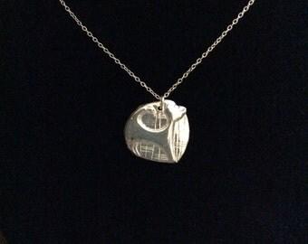 Precious metal clay cat pendant