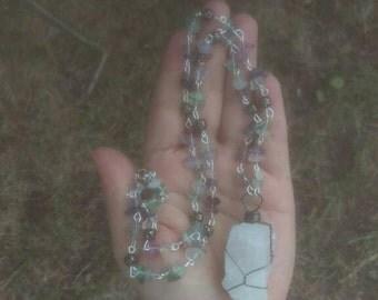 Rose Quartz Fluorite Necklace