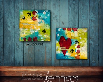 Love prints mounted on wood panels Valentine's gift 6x6 each