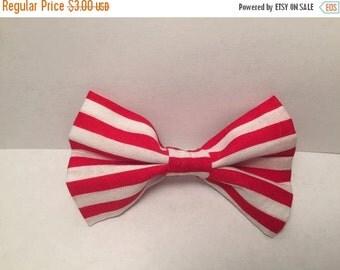 SALE Red and White Stripe Hair Clip, Bow Clip, Hair Clip, Hair Bow