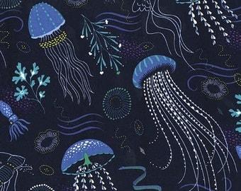 Jellyfish Into the Deep Jellyfish Michael Miller - Lagoon - 100% Cotton Fabric - Sea Life - Nautical