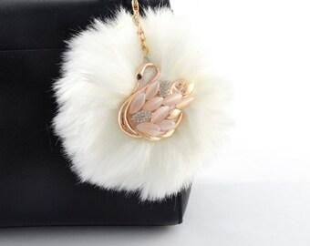 Swan Pom-Pom Key Chain / Bag Charm