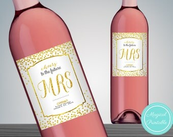 Gold Dots Printable Wine Bottle Labels, Printable Wine Bottle Labels,  Wedding Wine Label Printable, Wine Bottle Decor, WD47 DD WC30
