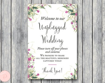Purple Watercolor Unplugged Wedding Sign, Unplugged Ceremony, Printable Wedding Sign, Printable sign, Wedding decoration sign wd106 TH51