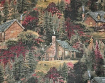 New!  1/2 Yard of Thomas Kinkade Country Log Cabin 100% Cotton Quilt fabric
