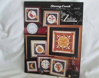 Zodiac signs cross stitch book/leaftlet