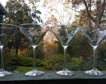 Custom Etched Martini Glasses