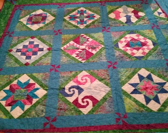 Reduced Queen Size Homemade Cotton Quilt Purples Greens Pinks Blue Aqua 99 Inches X 77 Inches