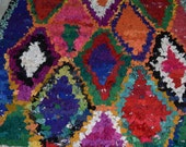 Moroccan boucherouite  handmade berber  boucherouite Vintage Moroccan Boucherouite Rug  90.55inx 57.87in