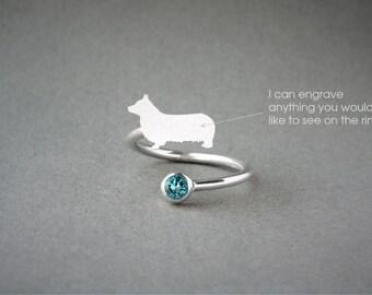 Adjustable Spiral PEMBROKE WELSH CORGI Birthstone Ring / Corgi Birthstone Ring / Birthstone Ring / Dog Ring