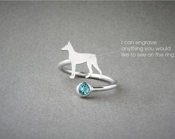 Adjustable Spiral DOBERMAN BIRTHSTONE Ring / Doberman Birthstone Ring / Birthstone Ring / Dog Ring