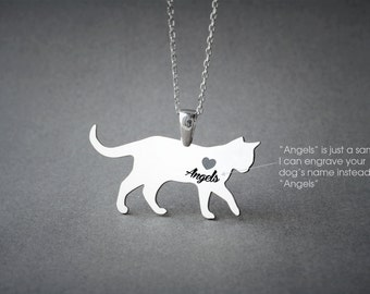 Shorthaired CAT NAME Necklace - Cat Name Jewelry - Personalised Necklace - Cat breed Necklace - Cat Necklaces