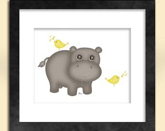 Hippo with Birds Art Print