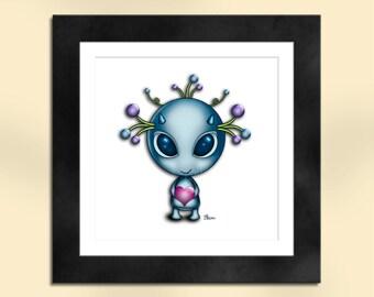 Blue Alien with Heart Art Print