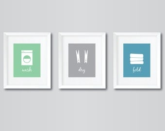 3 - 8x10 digital prints - Laundry Room - Wash, Dry, Fold - green, grey, blue -   INSTANT DIGITAL DOWNLOAD