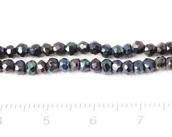 blue corted black spinel button cut/1str/G-0103