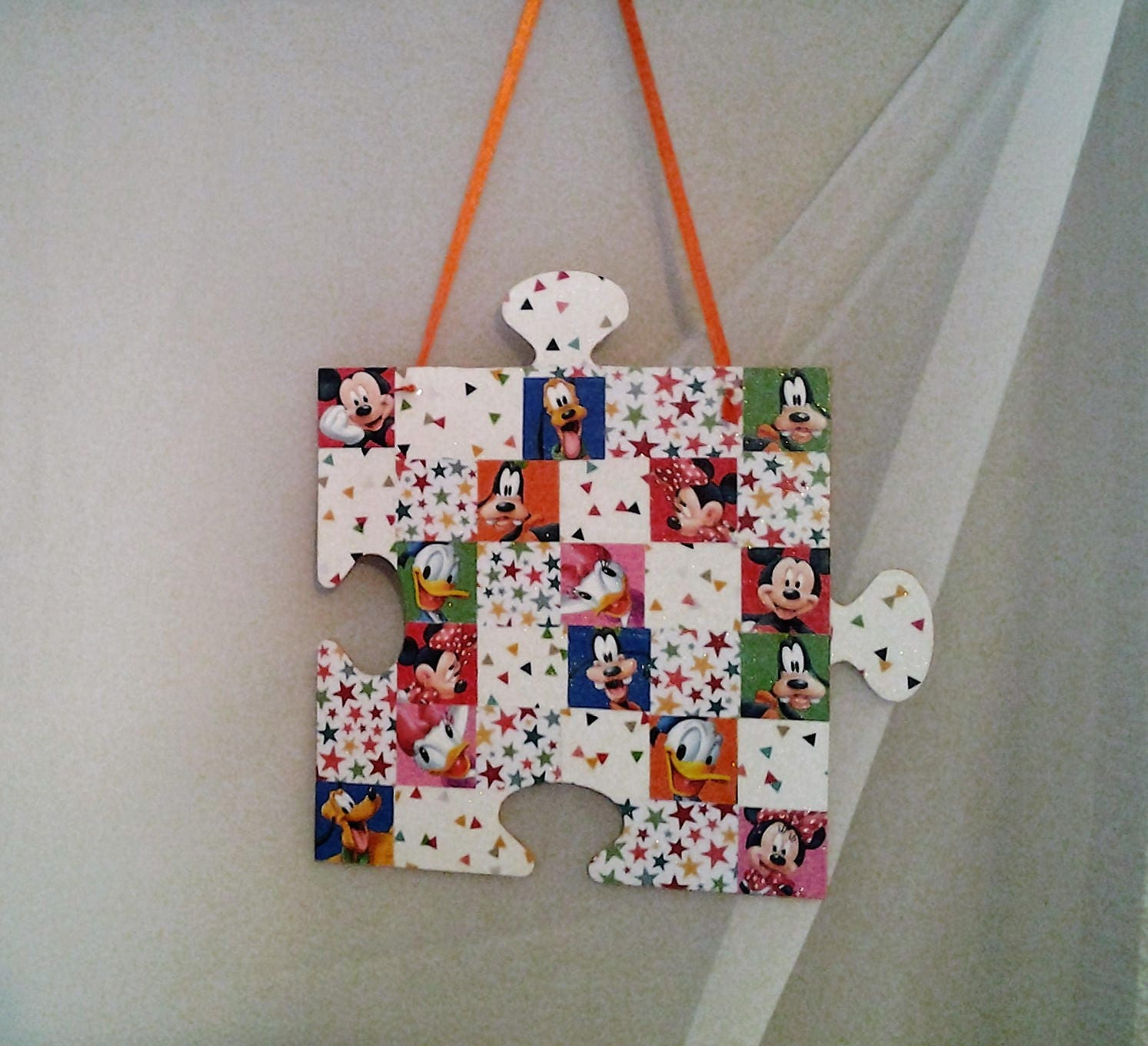 Puzzle Piece Shape Wall Hanging Disney Characters Colorful Fun