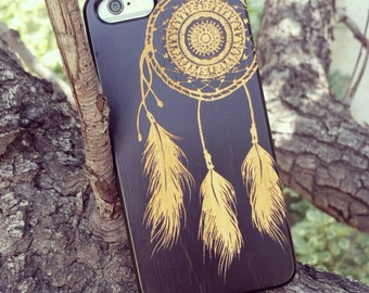 Laser Engraved Native American Aztec Mandala Dream Catcher on  Genuine Wood Cell phone Case for Apple iPhone  IP-064