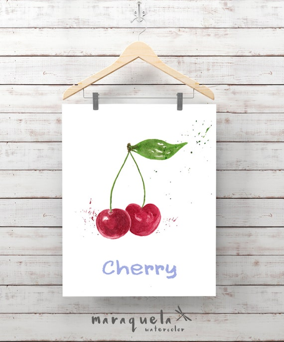 CHERRY illustration Watercolor. Painting, fruit print, cerise, fruits berries, kitchen, vegetable, decor.Gift kitchen wall art, home decor
