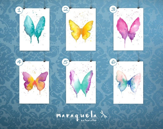 DISCOUNT SET of Butterflies & Dragonflies Collecion Original Watercolor - Vibrant Colors - Home decor, gift for her, woman gift ,butterfly