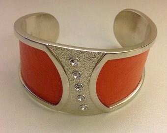 Cuff Bracelet - Ostrich Leather and Swarovski Crystals
