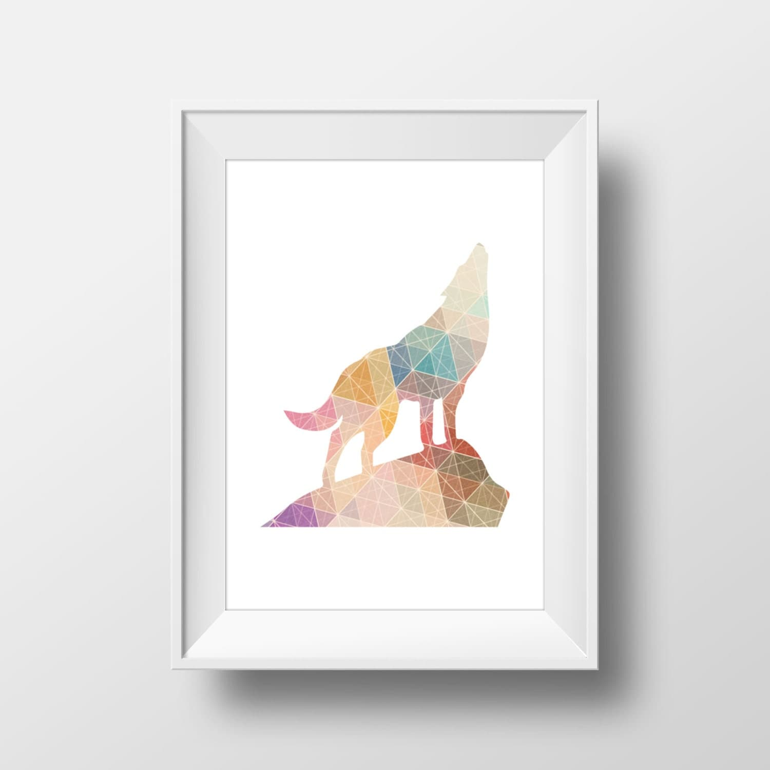 Colorful Geometric Howling Wolf Print Wolf Print Wolf Wall