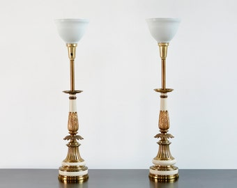 Set of Hollywood Regency Brass Stiffel Lamps