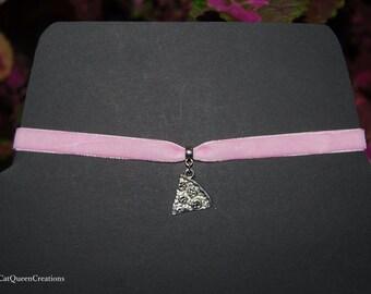 Breast Cancer Awareness Month Pastel Pink Velvet Choker Pizza Necklace