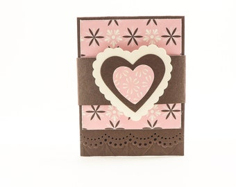 Heart Gift Card Holder, Love Gift Card Holder, Gift Card Holder, Gift Card, Pink and Brown Gift Card Holder, Giftcard, Giftcard Holder