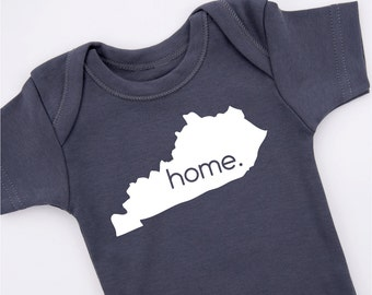 KENTUCKY HOME STATE Baby Bodysuit, All 50 States Available, White Printed Graphite Gray Baby Bodysuit, Newborn to 12-18 months