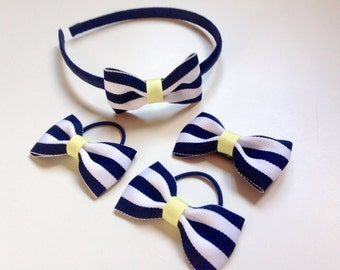 Navy striped hair accessory set - headband, bow bobbles and clip, toddler hair accessories, nautical