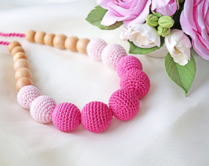 Nursing necklace / Teething necklace / Babywearing necklace - Rose dream