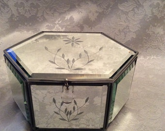 Etched Mirror Beveled Trinket Jewelry Box